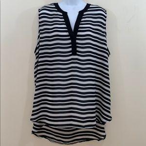 CATO Woman Sleeveless Semi Sheer V-Neck Shirt